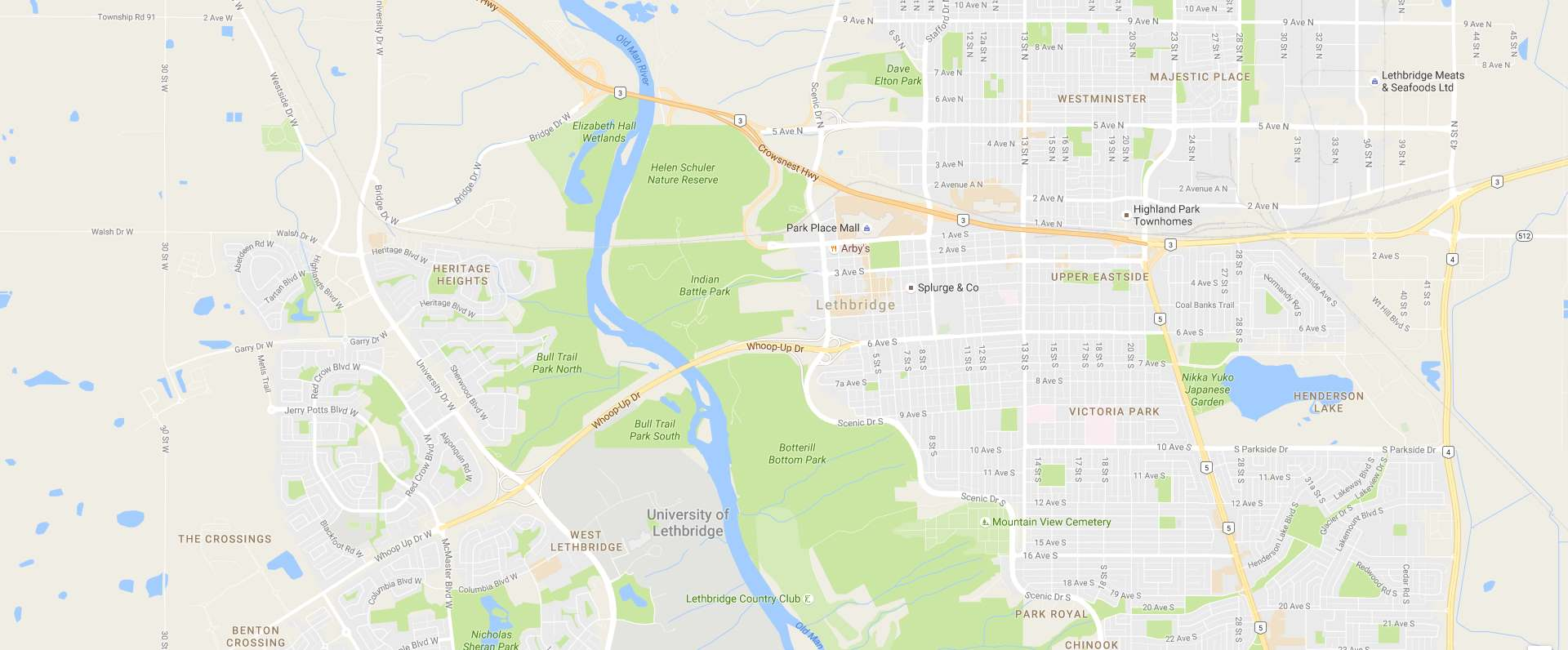Google map of Lethbridge